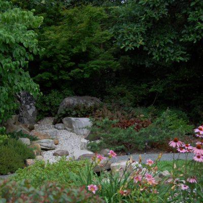 The Three Treasures Garden inspires reflection.