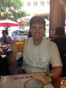 Paul enjoys his winning drink!
