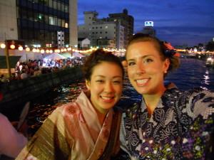 Susan in Tokushima during their huge dance festival, Awa Odori