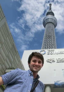Getting a glimpse of Sky Tree before leaving Japan last year.