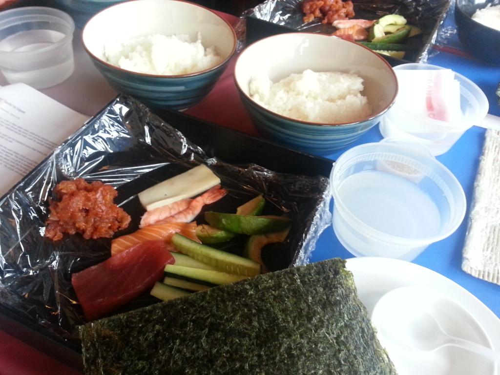 Ingredients for Sushi Making Workshop.