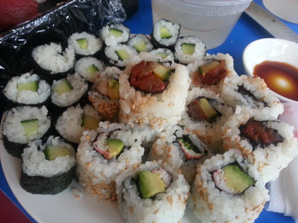 Cucumber rolls, spicy tuna, avocado rolls, and crab rolls.