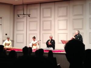 Miyuki Yoshikami (koto), Yoko Hiraoka (shamisen), Yodo Kurahashi II (shakuhaci), Ronnie Nyogetsu Seishin Seldin (shakuhachi)