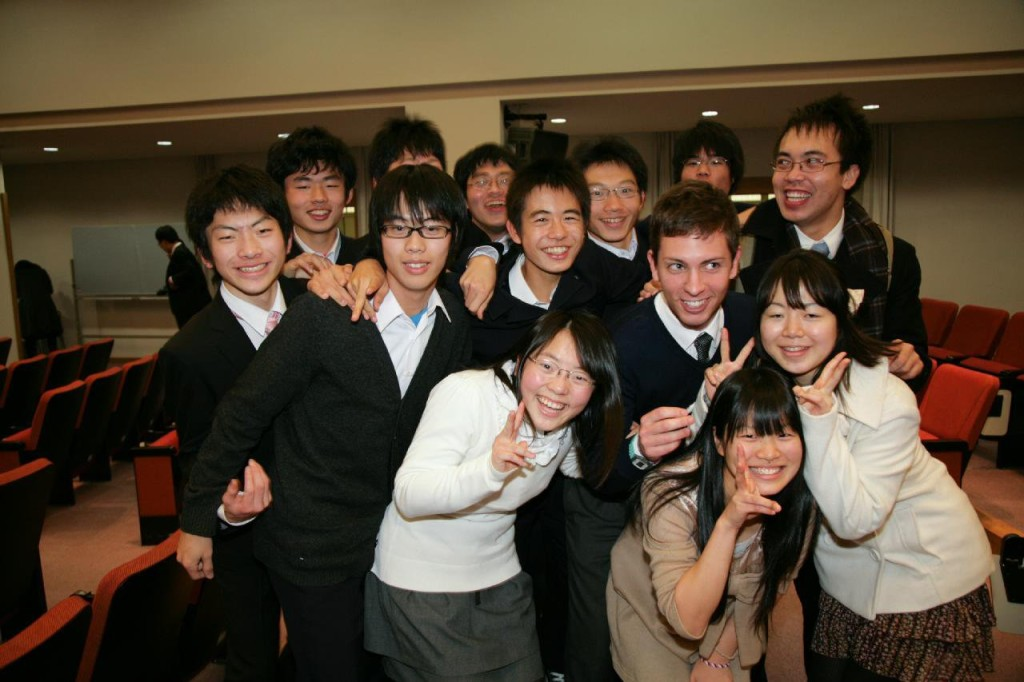 Myself and British ALT Benjamin Pass at the 5th Annual High School English Debate Tournament in 2010 with members of the Ina Kita High School from Nagano for whom we judged for and members of other schools as well.