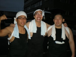 Myself, my best japanese friend and his friend after carrying a mikoshi during a city festival.